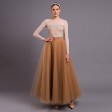 d1ac30aee5 Fashion 5 Layers Tulle Long Skirt Custom Made Khaki Ball Gown Bridesmaid  Skirt Vintage Floor Length