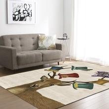 Beautiful Cartoon Deers Decoration Big Carpets Nordic Style Fashion Living Room Area Rug Anti Slip Soft Flannel Carpet Mats Rugs