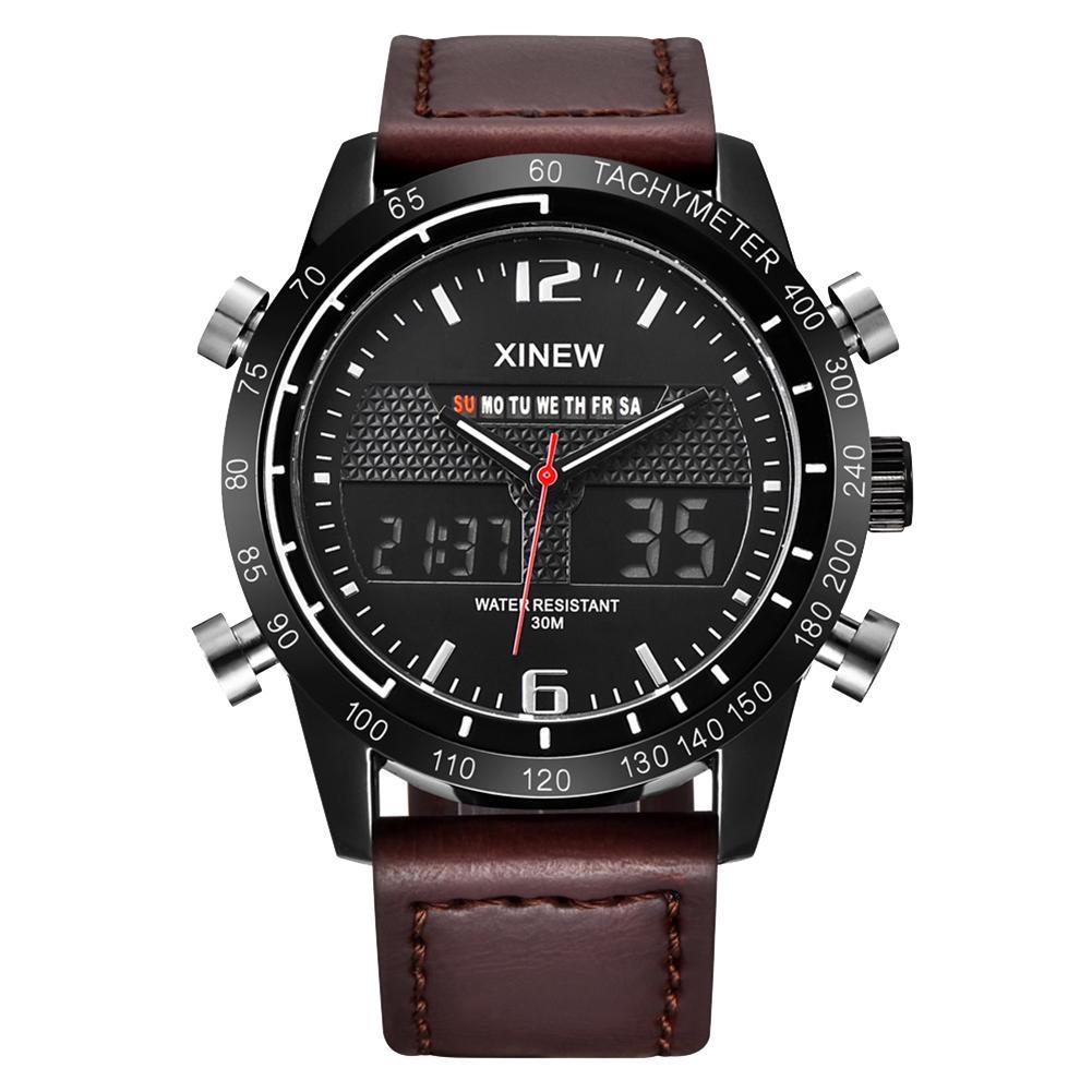 Bescheiden Mode Sport Dual Display Faux Leder Band Kalender Männer Digital Quarzuhr Uhren Para Hombre HüBsch Und Bunt