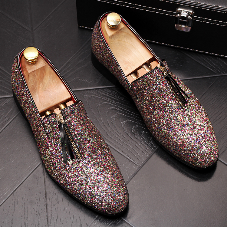 luxury Brand Classic Man Pointed Toe Dress Shoes Mens Sequined Black Silver Wedding Moccasins Flats Slipe On Shoes 1