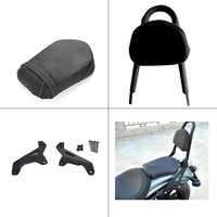 Motorcycle Rear Passenger Seat Backrest Pads Back Rest w/ Docking Hardware for Yamaha XVS950 R Spec 2014 2016
