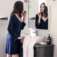 New!Autumn Spring Women's Nightgowns Home Style Sleepcoat Causal Sexy Long Sleeve Bedgown,Model Comfortable Home Clothes,D6