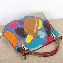 Кожаные сумочки модные Лоскутные 2018 для женщин Повседневное Tote Сумки Винтаж Дамы пояса из натуральной кожи через плечо