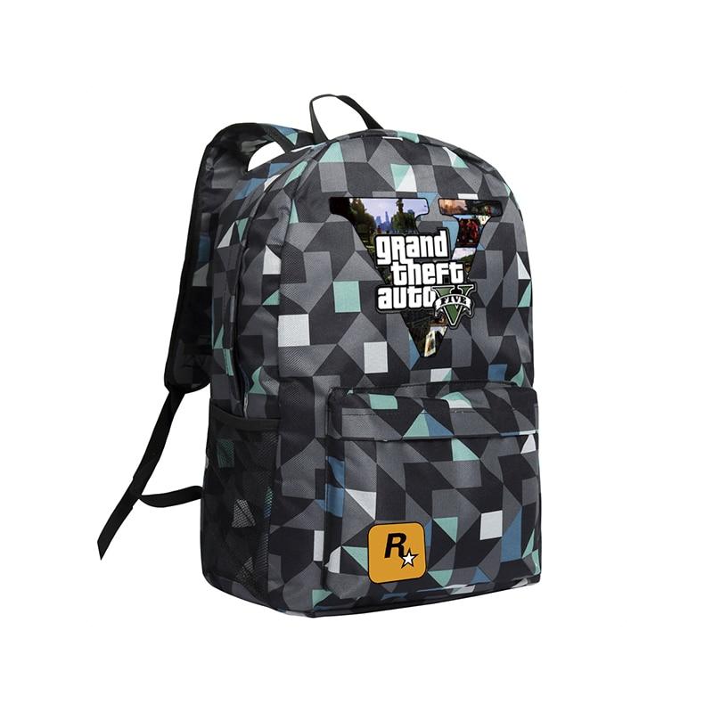 Zshop GTA5 Рюкзаки для подростков Обувь для мальчиков Школьные ранцы Grand Theft Autov Рюкзаки ранцы Оксфорд Mochila высокого Школьные ранцы GTA