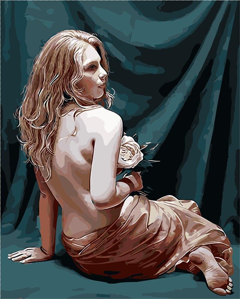 Fille de bain photo Décoration no frame nu sexy nude femme peinture Par Numéros peinture À La Main de Dessin Sur Toile chambre peintures