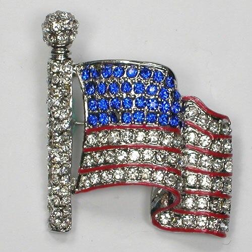Takı ve Aksesuarları'ten Broşlar'de 12 adet/grup Toptan Moda Broş Rhinestone Emaye ABD BAYRAĞı Pin broş takı Hediye C101355'da  Grup 1