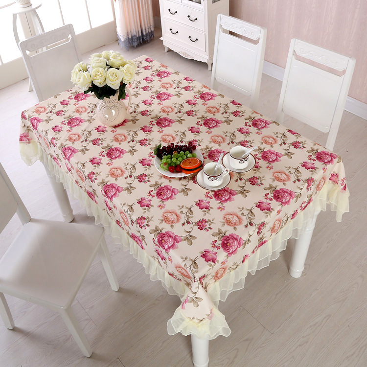 Hot Sale Elegant Pastoral Beautiful Flower Lace Design Table Cloth Set Cusion Tablecloth Polyester Print