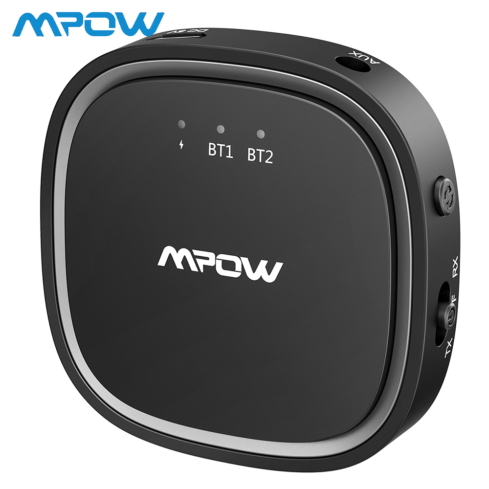 Mpow Bluetooth 5.0 Transmitter 2-in-1 Wireless Audio Adapter Receiver With AptX AptX-LL AptX-HD CSR Chip Dual Link Transmitter