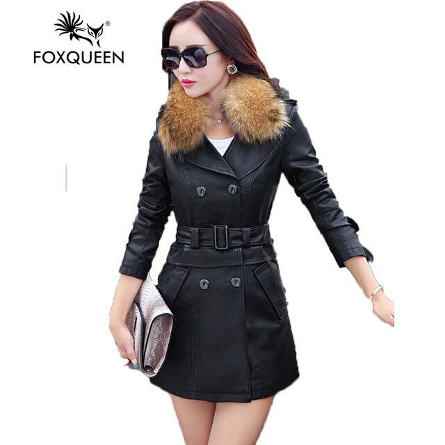 Foxqueen 2017 высококачественный Моды Новый Женский Кожаный Пиджак Кожаный Clothing Женский Сращены Стиль С Енота Меховым Воротником 8039