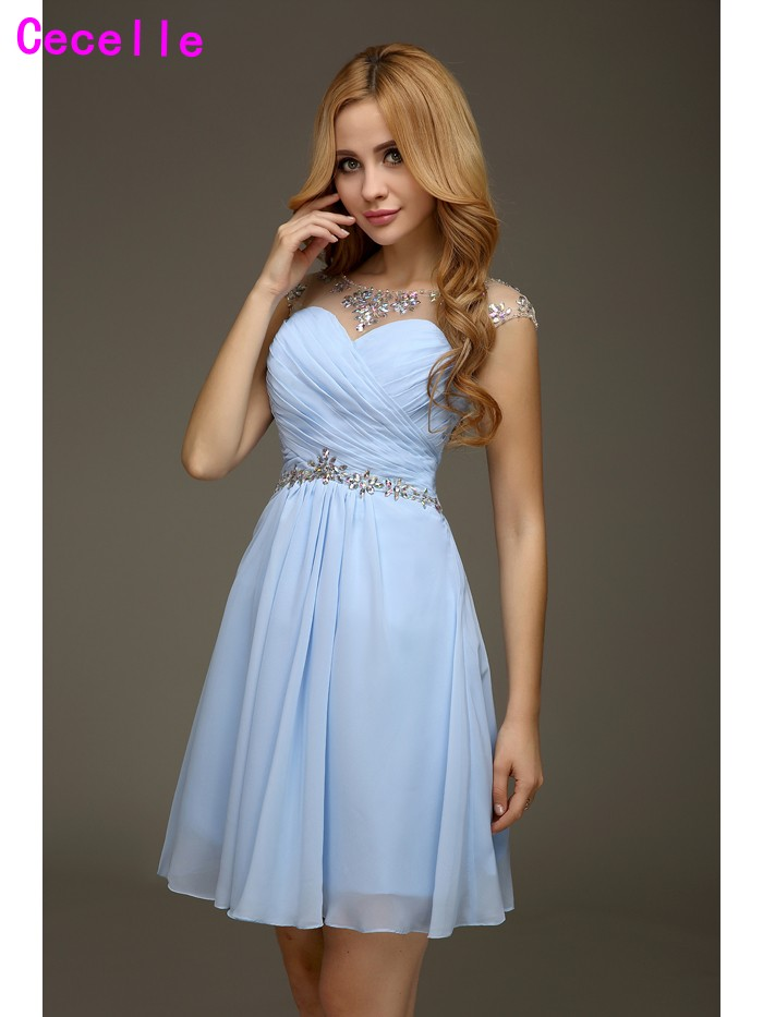 Real Blue A-line Juniors Graduation   Cocktail     Dresses   2019 Beaded Crystals Sleeveless Pleats Chiffon Open Back Sexy Seniors   Dress