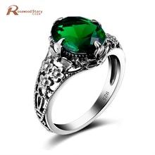 Dijes 925 joyería de plata esterlina anillo flor verde Diamante de imitación Vintage anillos de cristal para las mujeres de la boda bijoux alibaba express