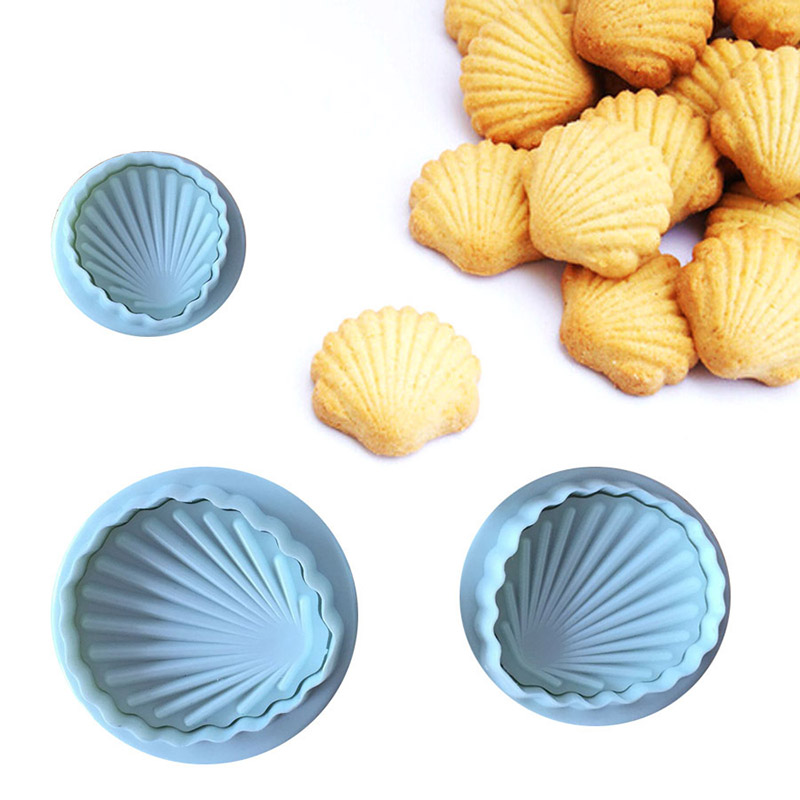 3pcs/set Shell Fondant Cake Decorating Tools Cookies Cutters Set Plunger Cake Mold Tools Bakeware Biscuit Molds Baking Molds image