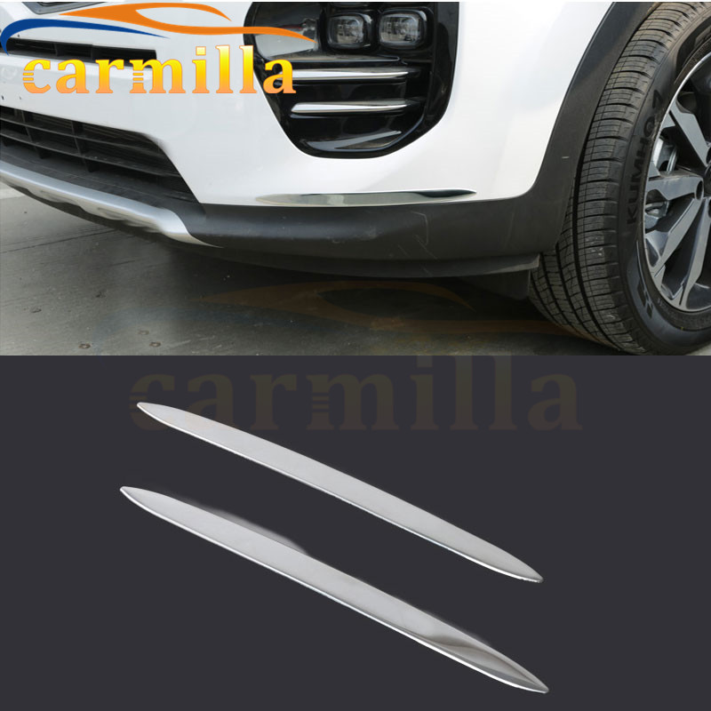 Stainless Steel Front and Rear Anti Scratch Protection Trim Sticker for Kia All-New Sportage New Sportage Kx5 QL 2016 2017 Acc. 2 pcs set stainless steel car air vent circle trim air conditioner protection sticker for kia sportage kx5 ql 2016 2017 parts