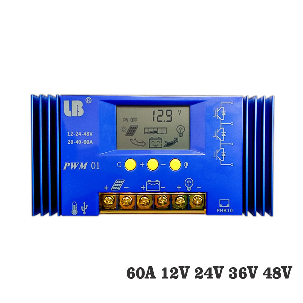 60A PWM solar charge controller 12V 24V 36V 48V LCD display solar charger regulator seale AGM