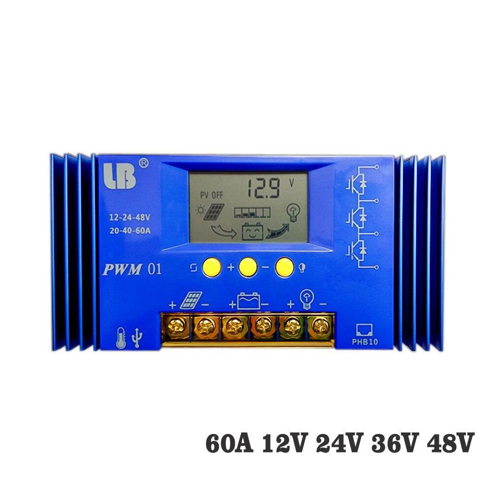 60A PWM kontroler ładowania słonecznego 12 V/24 V/36 V/48 V wyświetlacz LCD ładowarka słoneczna regulator seale AGM GEL żelaza litowo jonowa bateria litowa w Kontrolery słoneczne od Majsterkowanie na AliExpress - 11.11_Double 11Singles' Day 1