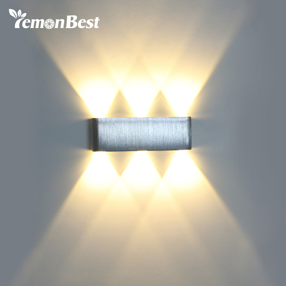 Wall Light Up Down 6W 6 LED Aluminum Modern Cuboid Wall Lamp Indoor ...