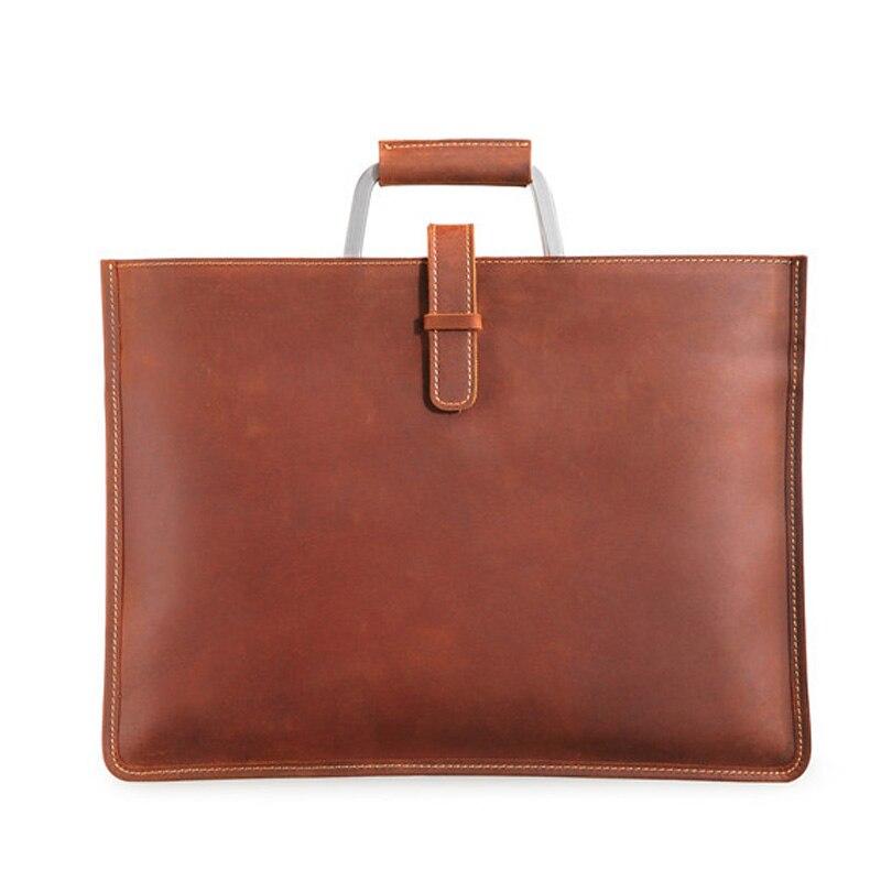 정품 가죽 남자 핸드백 크레이지 호스 가죽 남자 레트로 올려 놓 가방 어깨 메신저 가방 비즈니스 남자 서류 가방 노트북 가방-에서서류 가방부터 수화물 & 가방 의  그룹 1