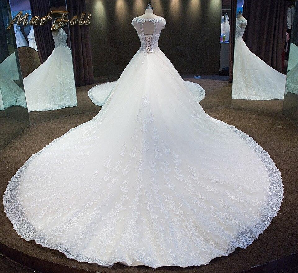 2017 nieuwe mode elegante kristal kralen een lijn trouwjurken prinses - Trouwjurken - Foto 2