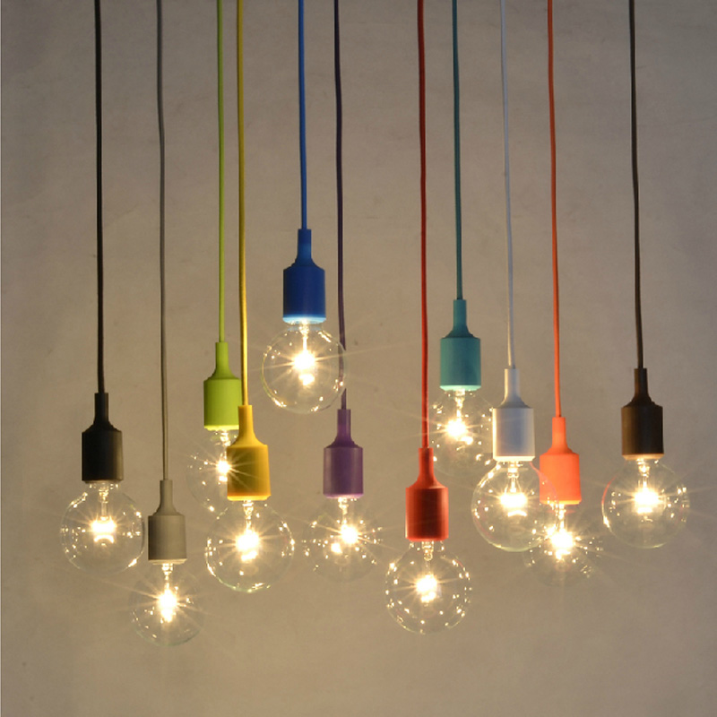 Clothing store color single head small pendant lamp Cafe lamp Cafe hall lamp personality LED lighting