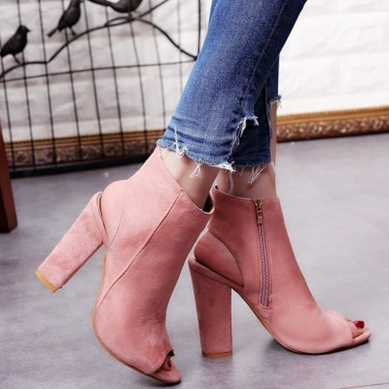 ใหม่ผู้หญิงข้อเท้ารองเท้าหนัง Faux Suede เปิด Peep Toe รองเท้าส้นสูงซิปแฟชั่นสแควร์ยางสีดำสำหรับผู้หญิง