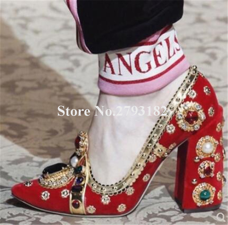 Брендовые женские модные красные, оранжевые, фиолетовые замшевые туфли лодочки со стразами на не сужающемся книзу массивном каблуке туфли ... - 3