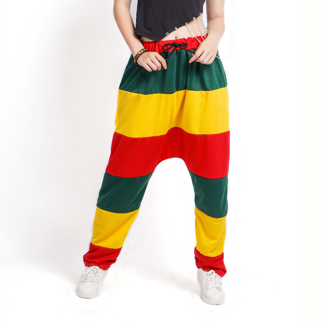 Adult kids Spring Patchwork Jamaican Reggae Sweatpants striped Costumes Green Yellow Red Panelled Punk Harem Hip Hop Dance Pants