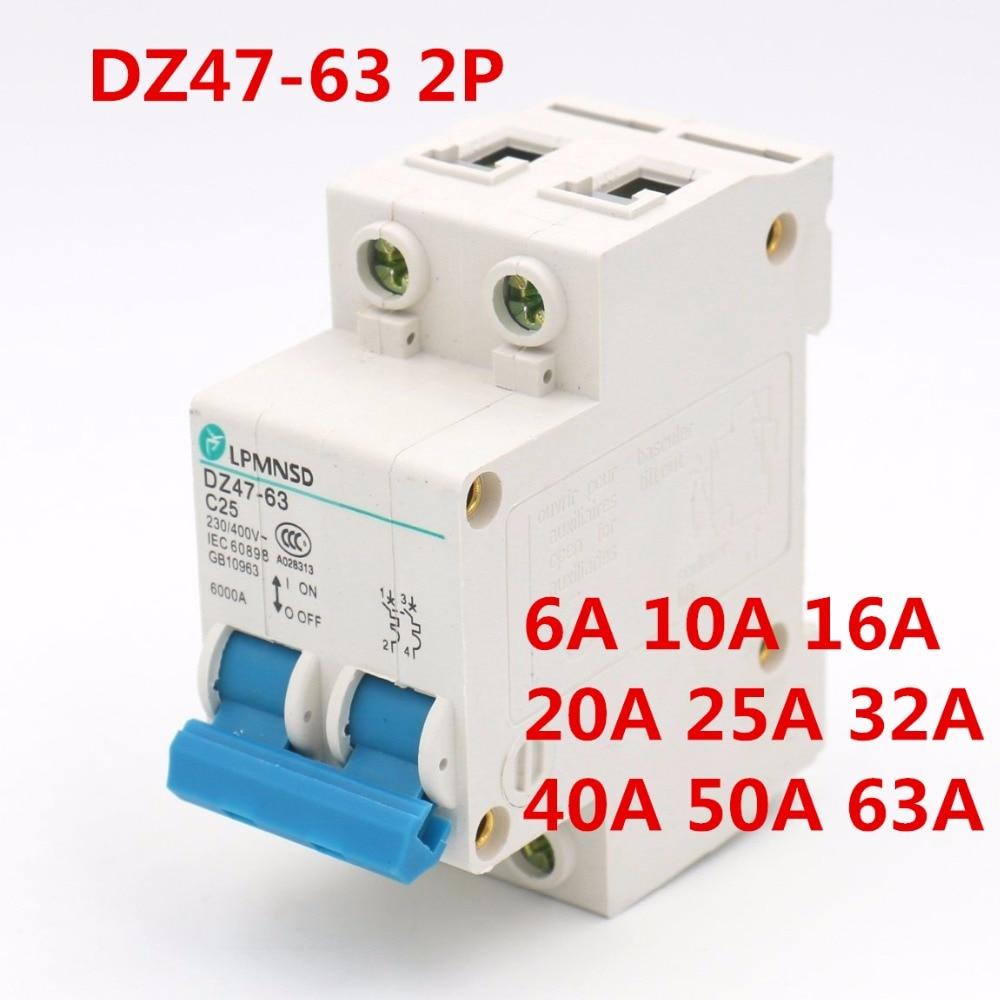 2Poles 25A 400V Low-voltage Miniature Circuit Breaker Din Rail Mount DZ47-63 C25