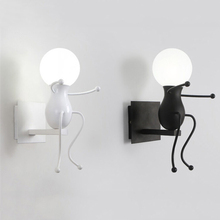 Retro Cartoon Robot E27 Wall Light American country Creative Iron Led Wall Lamp for Children room Bedroom bedside aisle цена 2017