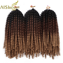 AISI BEAUTY Fluffy Spring Twist Hair Extensions Black Brown Ombre Crochet