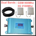 model GSM 900Mhz Booster +3G WCDMA 2100Mhz Repeater dual band  booster complete kits with cable & antennas,dual band booster
