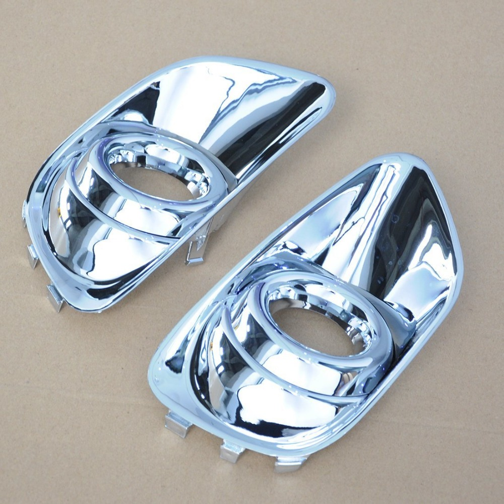 2 Pcs Brand New ABS <font><b>Chrome</b></font> Front Fog Lamp Head Light Cover Trim For 2011 <font><b>2012</b></font> 2013 2014 2015 2016 <font><b>Jeep</b></font> <font><b>Compass</b></font> car accessories image