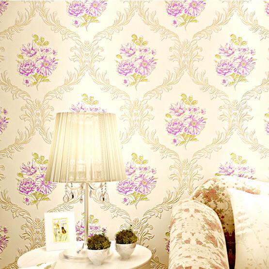 embossed simple damascus with pretty flowers designs wallpaper 3d for bedroom wall papel de parede 3d