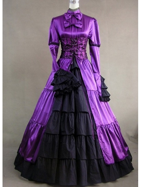 Purple And Black Masquerade Gothic Ball Gowns Plus Size Victorian