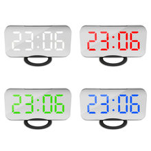 LED Digital Alarm Clocks Mirror Snooze Night Light LCD Display USB Charging Cable Memory Adjustable Brightness Desktop Watch(China)