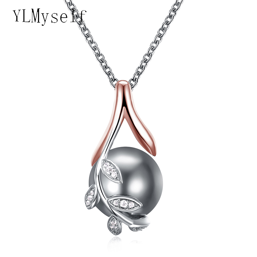 Dropshipping charms pendants rose gold plate pave grey pearl & cubic zircon crystal jewelry pendant necklace for women