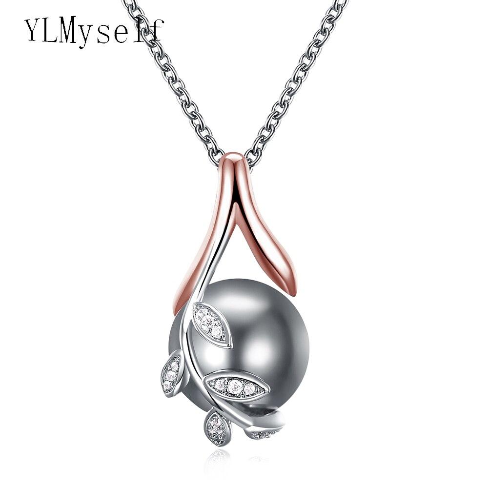 Dropshipping charmes pendentifs or rose pavent gris perle et zircon cubique bijoux en cristal pendentif collier pour les femmes