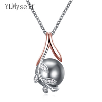 Dropshipping Charms Pendants Rose Gold Plate Pave Grey Pearl Cubic Zircon Crystal Jewelry Pendant Necklace For