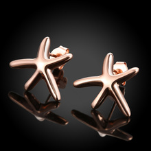 Free Shipping Elegant Sea Star Earrings Rose Gold Trepang Pattern Stud Earrings For Women Ladies Fashion Jewelry Wholesale