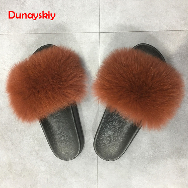 2aceb11cbb2 Candy Color Slippers Women Fox Home Fluffy Sliders Comfort With Feathers  Furry Summer Flats Sweet Ladies