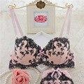 2017 novos chegada da alta qualidade do algodão arco flores bordadas empurrar para cima AB copa do bra set lingerie sexy underwear bra set branco Rosa