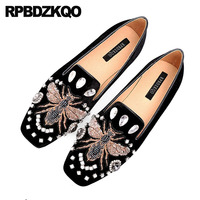 Embroidery Flats Embroidered Women Dress Shoes Large Size Bee Size 9 Designer Crystal Square Toe Suede Rhinestone Party Loafers