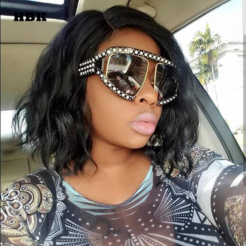 HBK marca italiana diseñador de lujo gran perla Gafas de sol mujer hombres de gran tamaño Sol Gafas para mujer hombre lente transparente gafas UV400