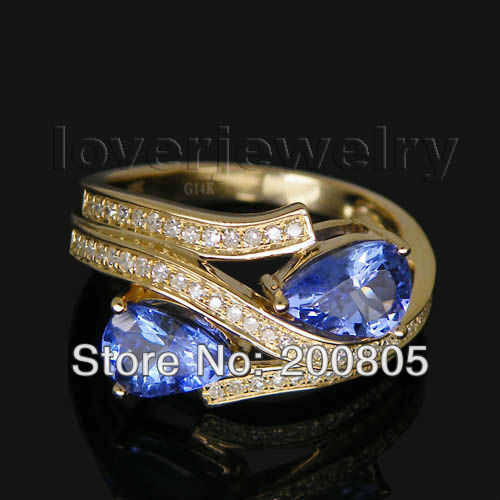 1.67CT Vintage Two Stones Ring,Pear 7x5mm 14Kt Yellow Gold Diamond Tanzanite Ring WU021 ...