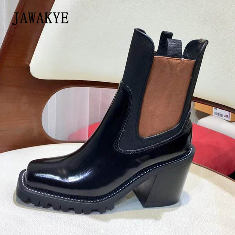 2018 Chic Ankle Boots Woman Square Toe Real Leather High Heel Chelsea Boots Women Fashion Platform Boots2018 Chic Ankle Boots Woman Square Toe Real Leather High Heel Chelsea Boots Women Fashion Platform Boots