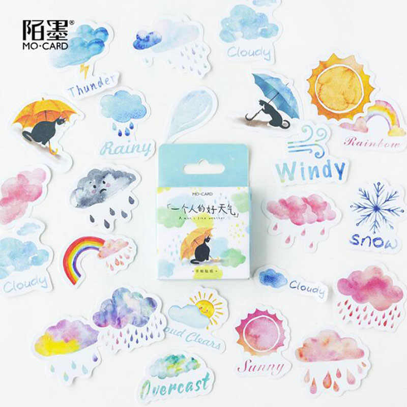 45pcs Cute Stickers Label Kawaii Diary Handmade Adhesive Paper Flake Japan Sticker Scrapbooking Stationery The Weather Stickers