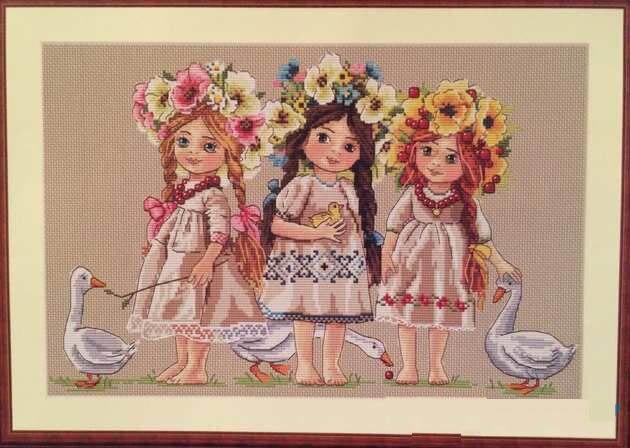 Набор крестиков для молодых девочек, цветок, свинья, гусь, 14ct, ткань светло-голубого цвета, льняная ткань, холст, вышивка, сделай сам, ручная работа, рукоделие