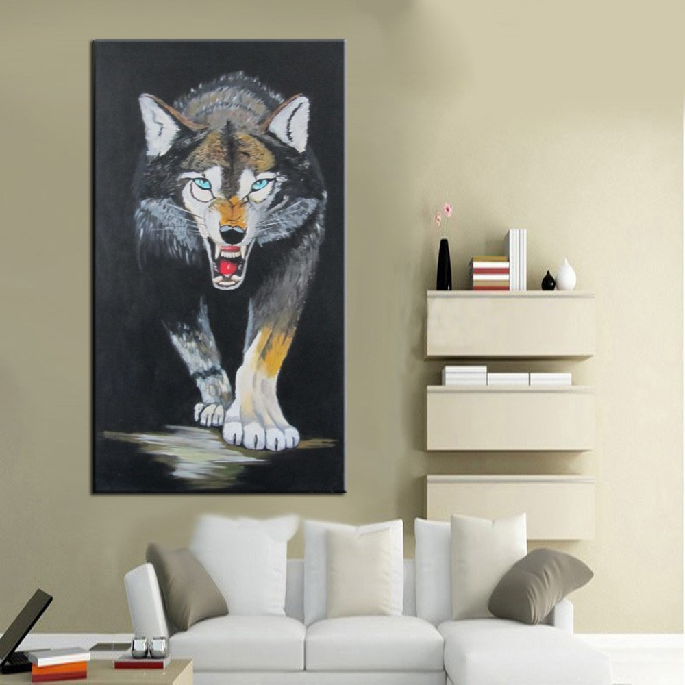 High Quality Animal Painting Wolf Bedrooms Vertical Handmade  -> Pinturas Em Sala