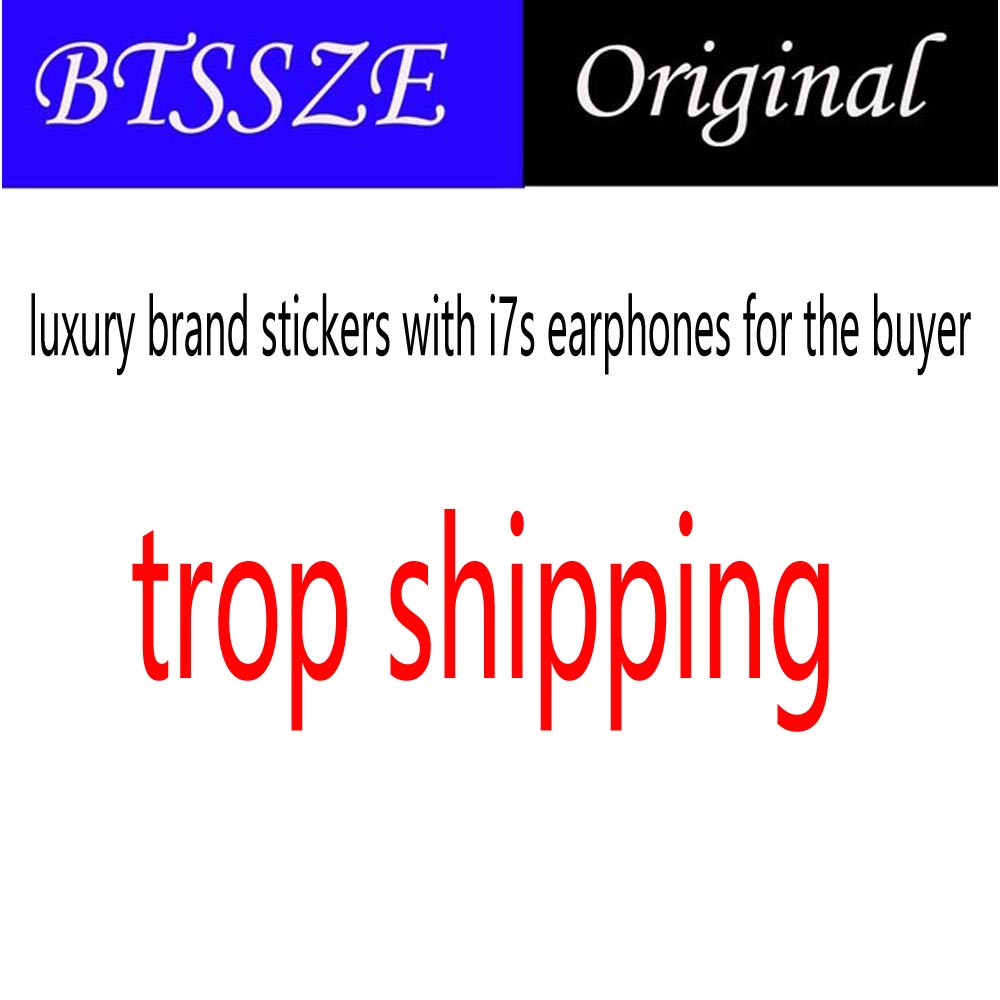 luxury brand stickers with i7s earphones for the buyet to trop shipping