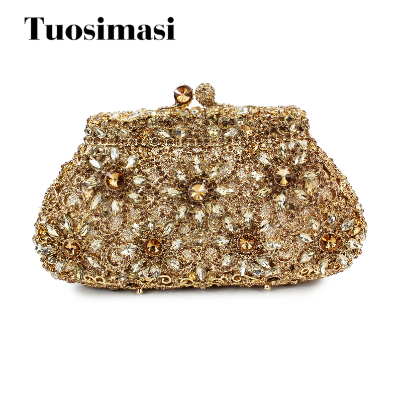 Flower Evening Crystal Bag Golden Stones rhinestone Clutch Evening Bag Female Party Purse Wedding Clutch Bag Shoulder Bags