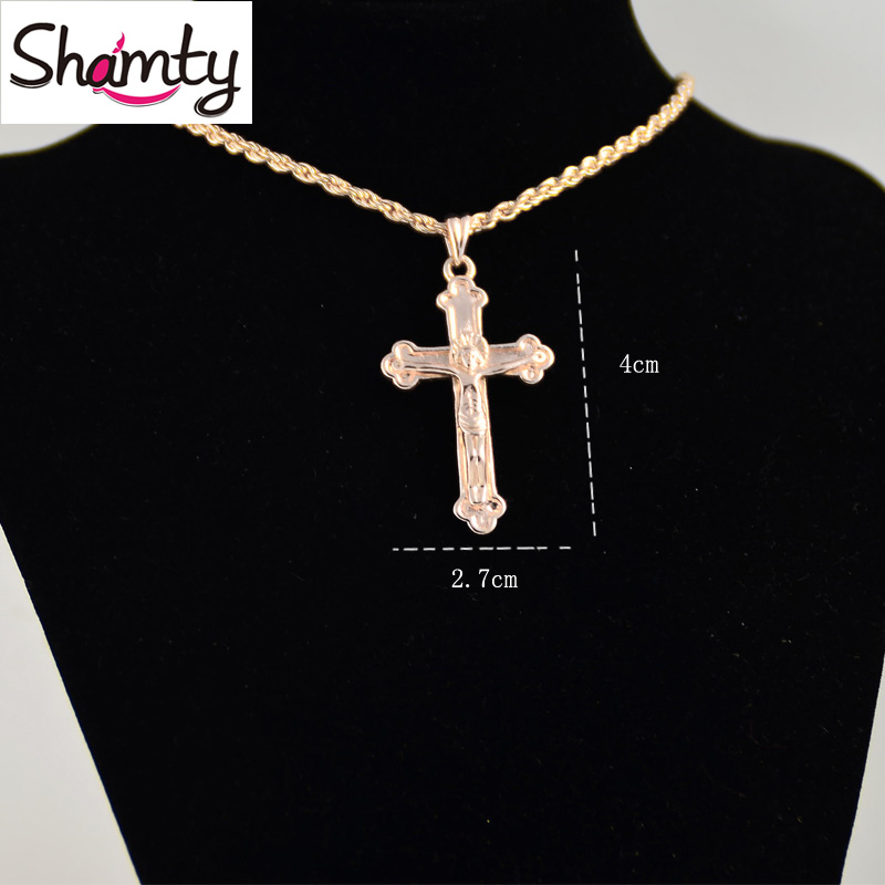 Shamty Free Shipping Rose Gold Color Cross Necklace Christian Jewelry Fashion Rose Gold Color Jewelry S30001 цена и фото